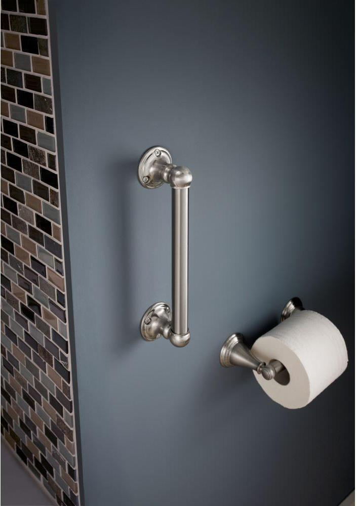 This elegant stainless steel grab bar has a satin-nickel finish, which nicely complements the toilet tissue holder
