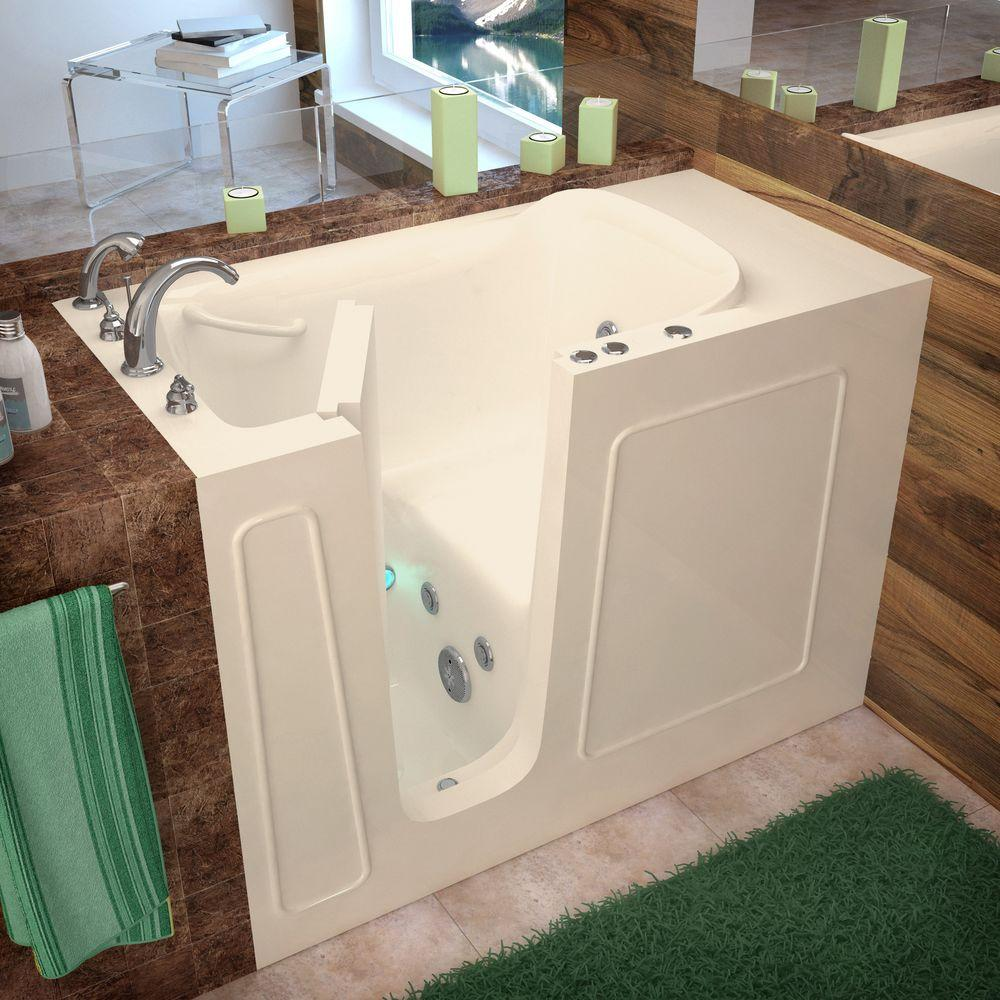 A walk-in tub has an easy-access door and built-in bench seat.