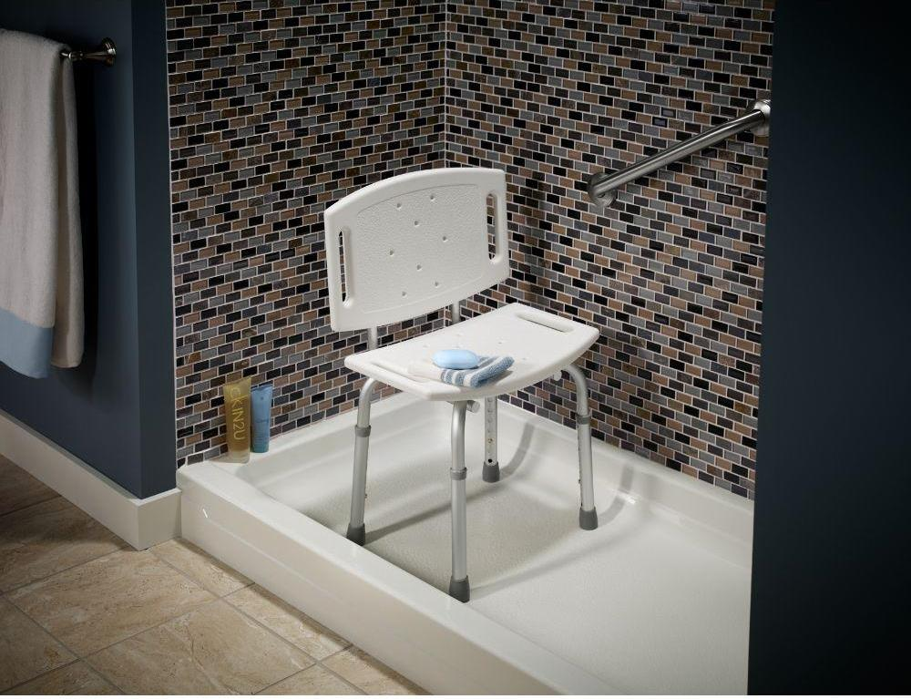 A shower chair can prevent slips and makes it easier to bathe.