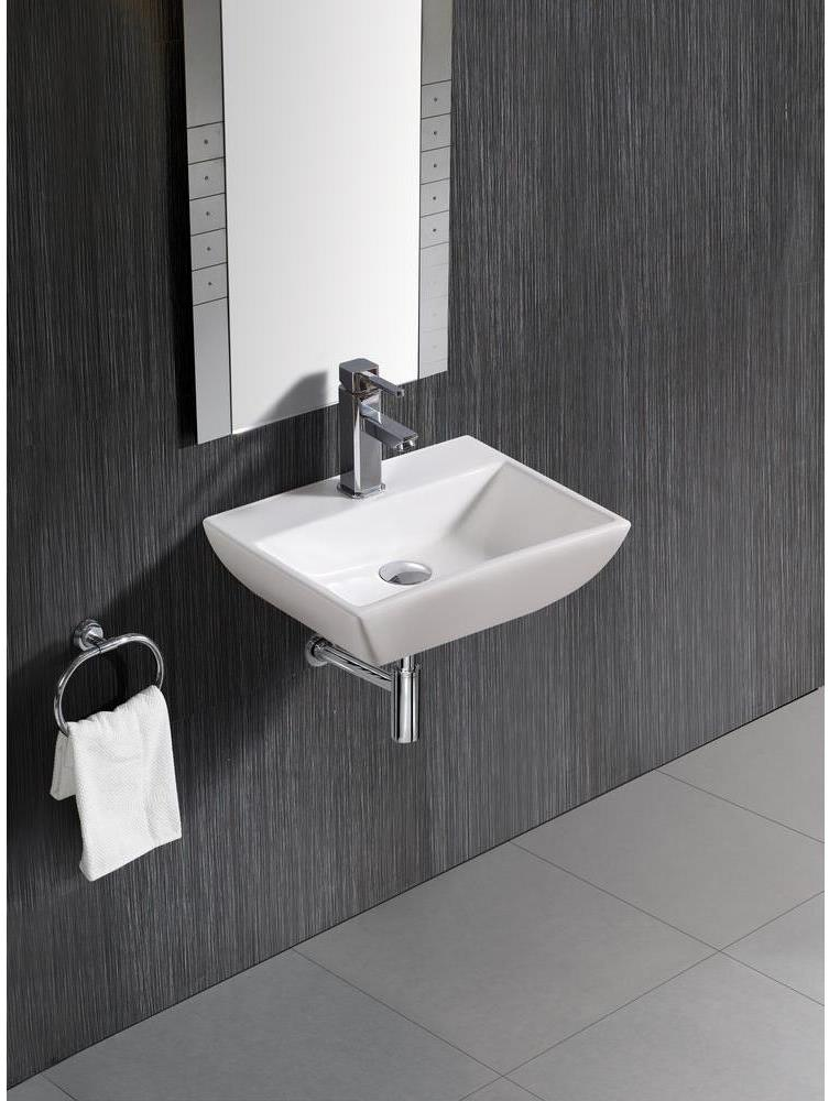 The open space beneath a wall-mounted sink can accommodate people with walkers, canes and wheelchairs.