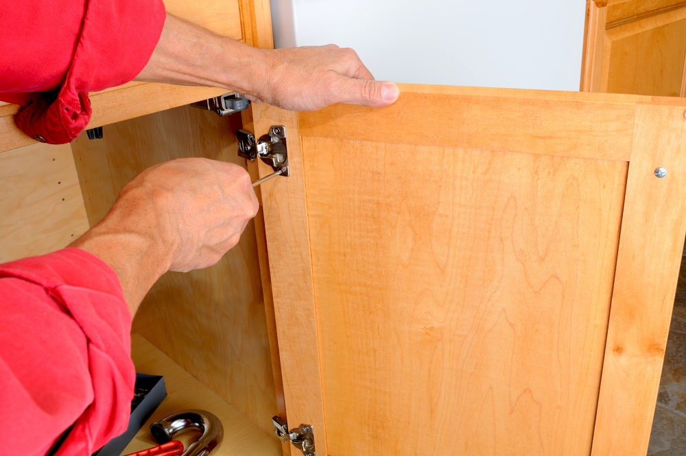 Cabinet refacing includes the installation of all new hardware, including door hinges, and pulls and knobs for all doors and drawers.