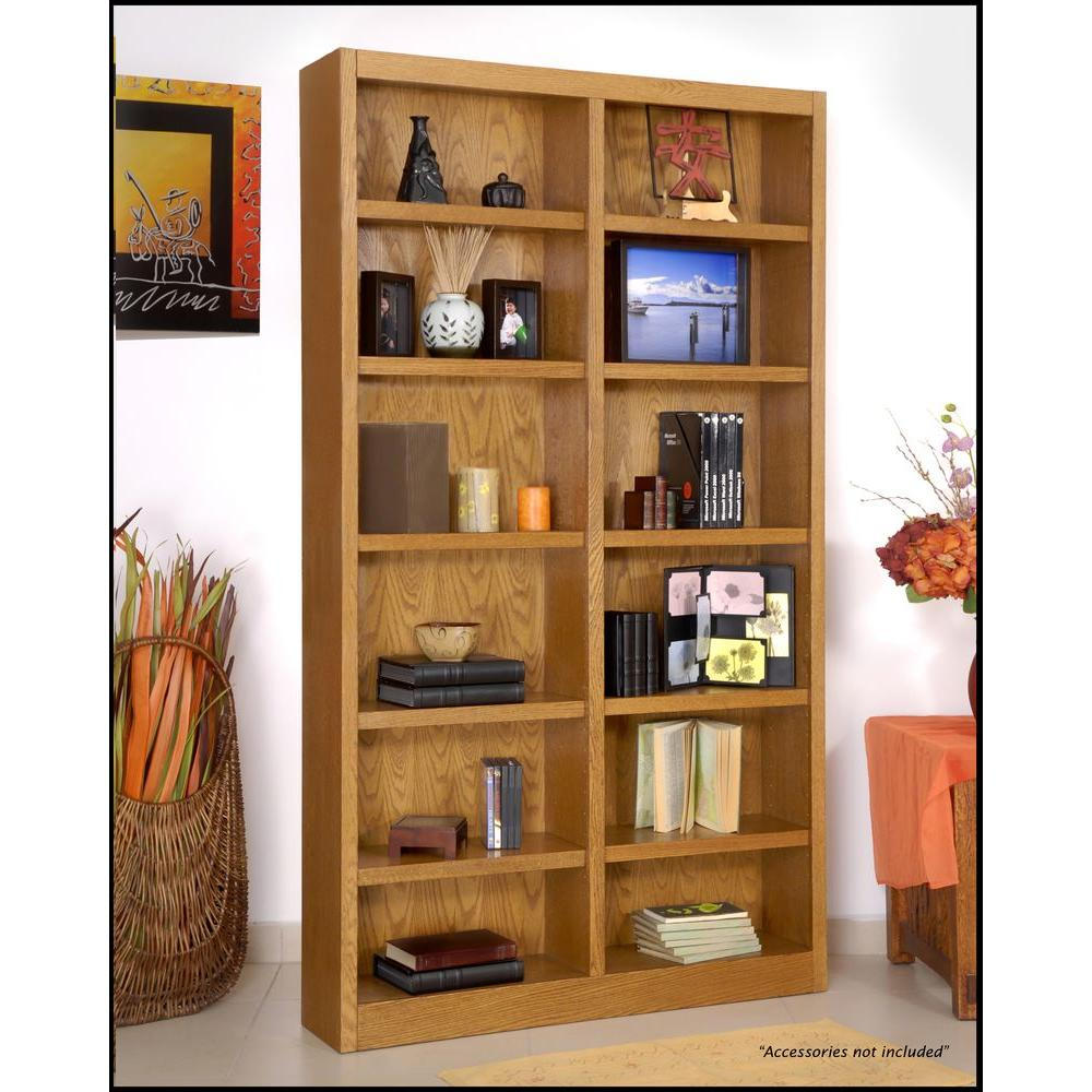 This traditional red-oak bookcase has a center divider and 12 adjustable shelves