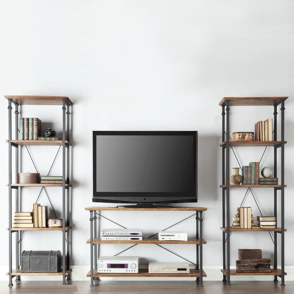 Trendy industrial-chic design is captured in this trio of steel and wood bookcases. Each piece is sold individually and can be assembled in minutes.