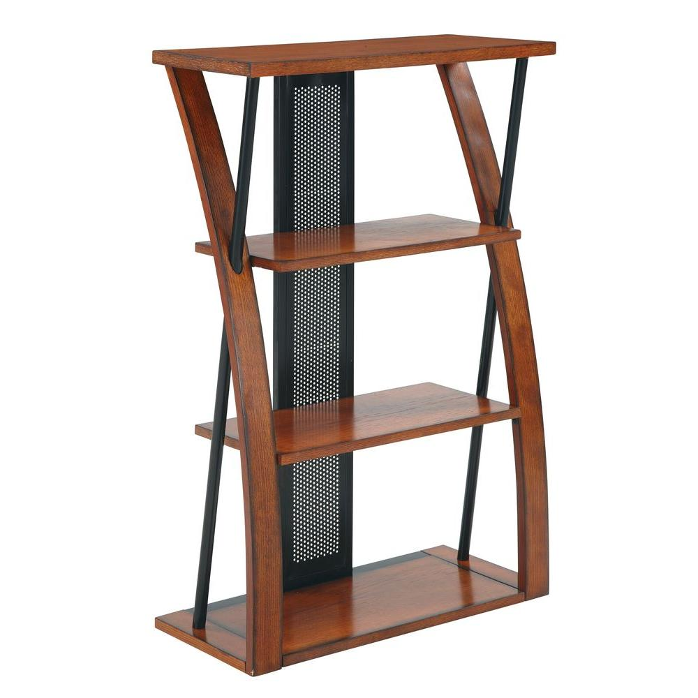 Black powder-coated metal and stained oak come together in this compact, contemporary three-shelf bookcase.