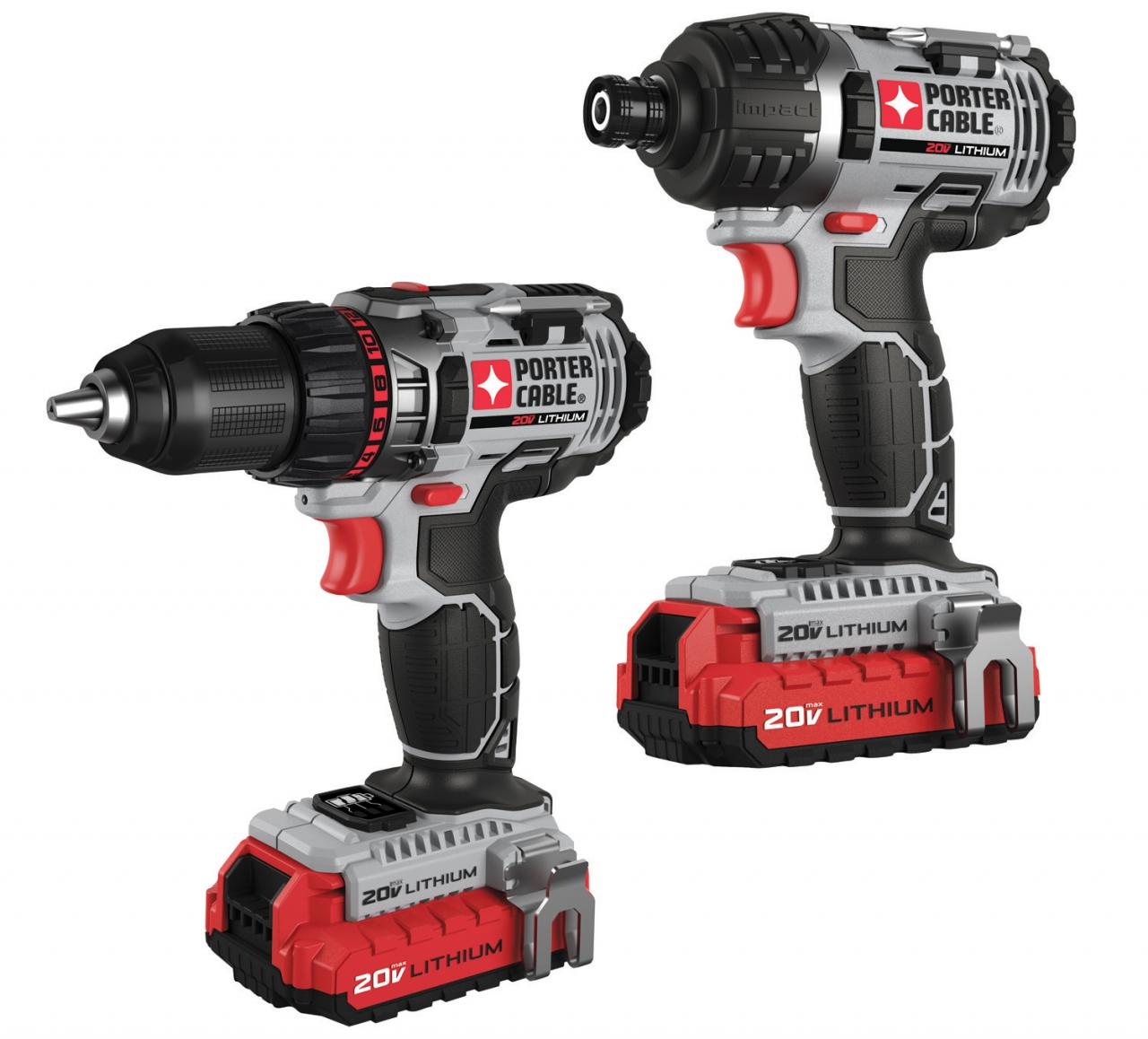PORTER-CABLE's new 20 Volt MAX* Lithium Ion Compact Drill/Driver and 20 Volt MAX* Lithium Ion Impact Driver