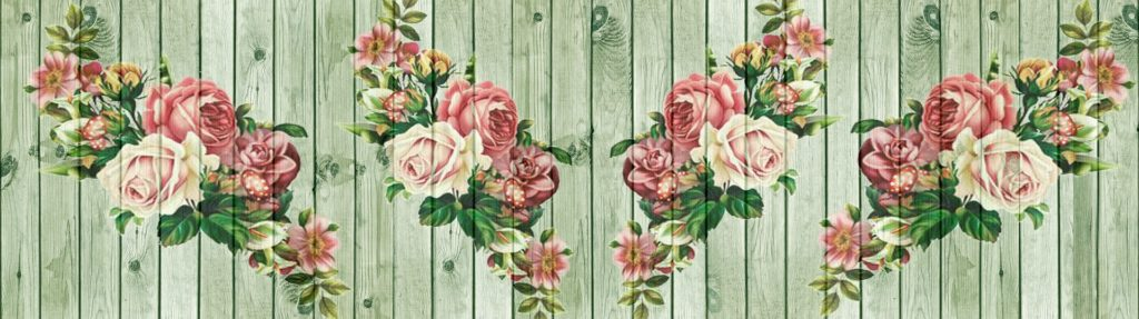 Stencil flower pattern painted on wall can be an attract DIY cheap wall covering.