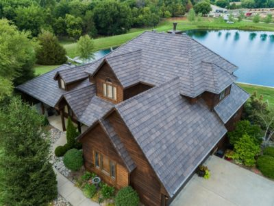 Synthetic roof viewed from drone