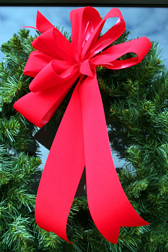 Red holiday bow on door