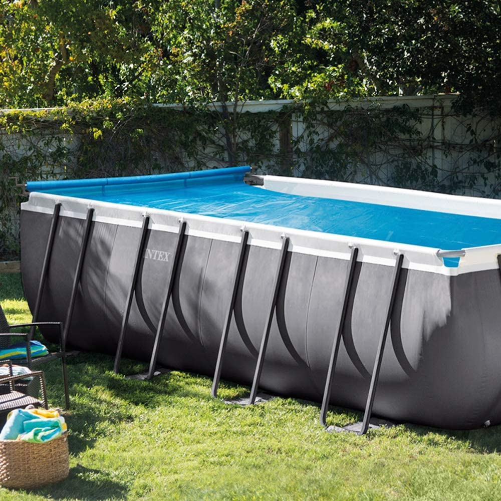 Solar pool cover on above ground pool
