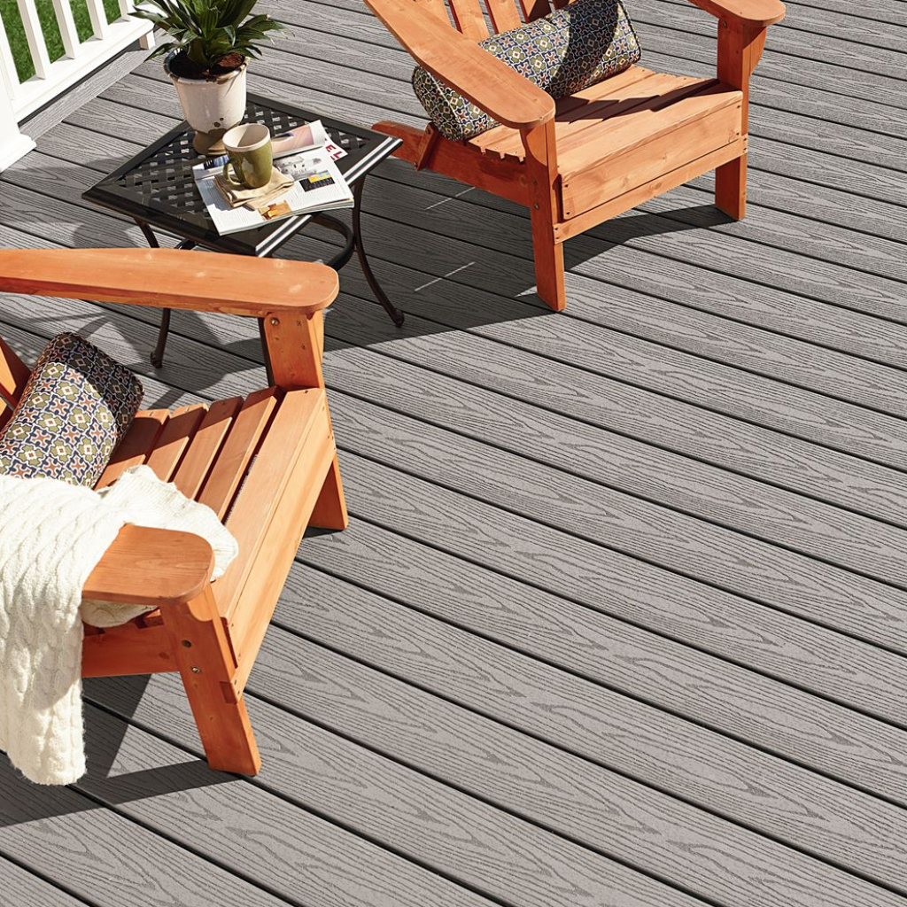 Adirondack chairs on a new deck