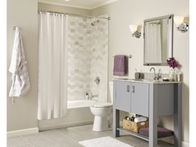 Bath with exhaust fan in ceiling