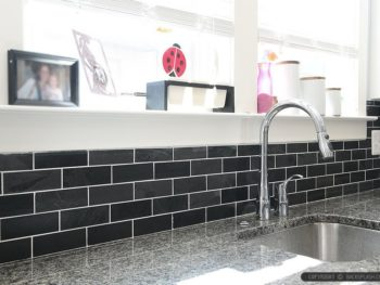 Tile backsplash in a kitchen
