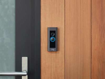 Video door bell in wood door