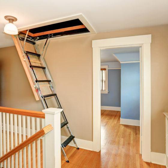 Hallway interior with folding attic ladder