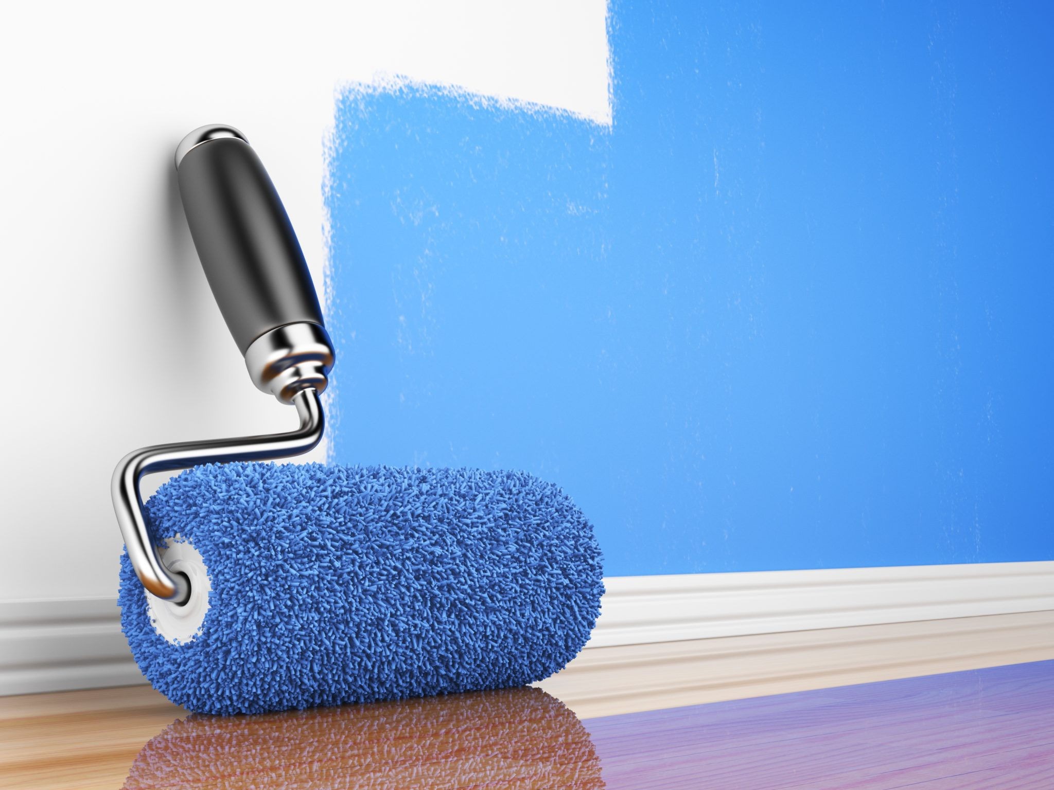 Paint roller on wall