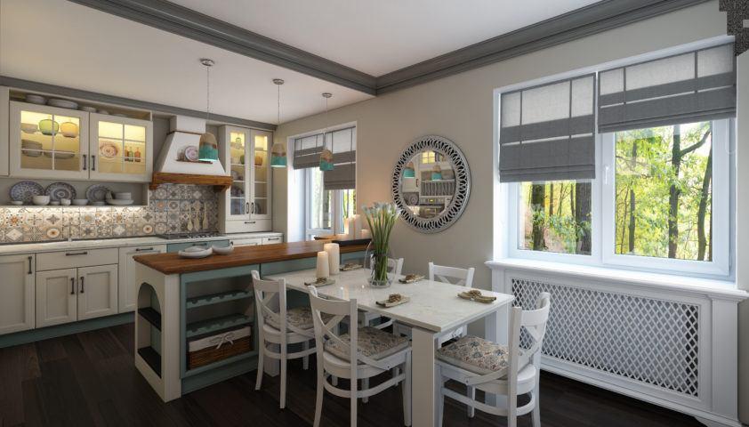 Mediterranean Kitchen In Small Apartment
