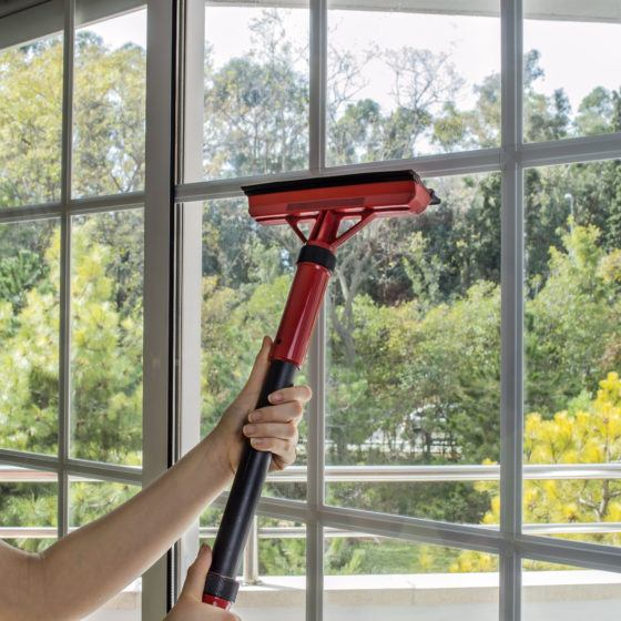 cleaning window with machine