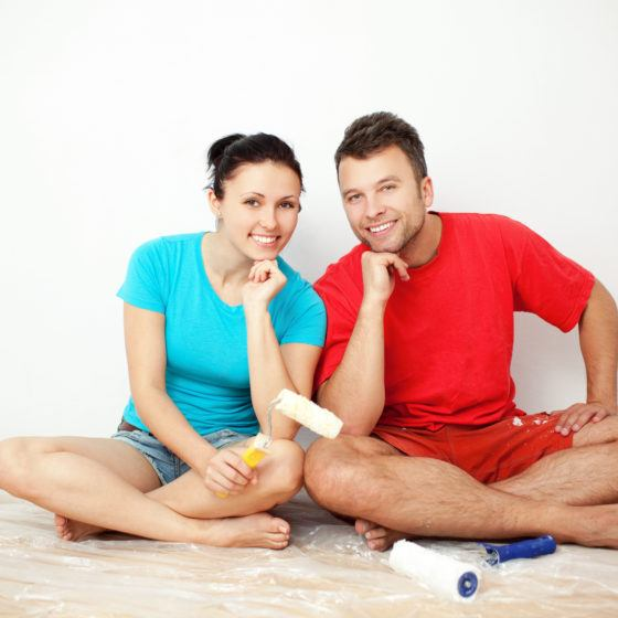 Couple choosing paint colors