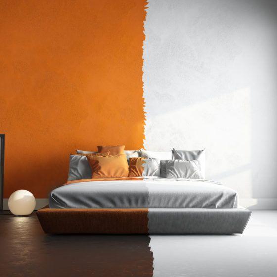 3d interor of orange-white bedroom
