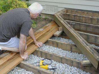 Man building a deck