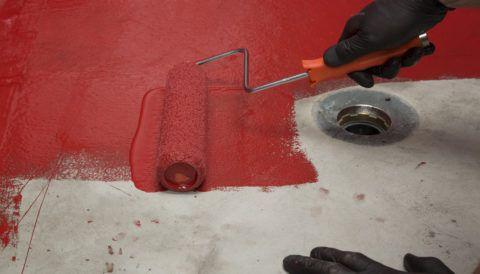 red paint, concrete