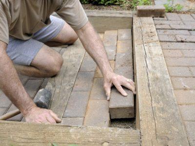 re-mortar brick steps