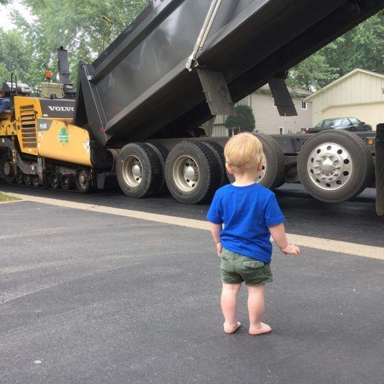 Child on New Driveway