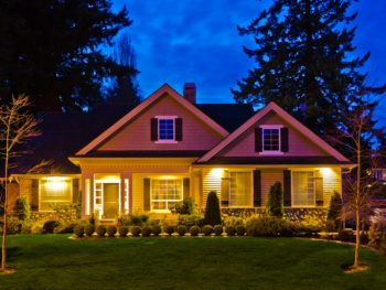 Exterior lighting on a house at night