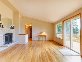 Oak hardwood floor in bright home.