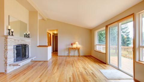 Oak hardwood floor in bright home.