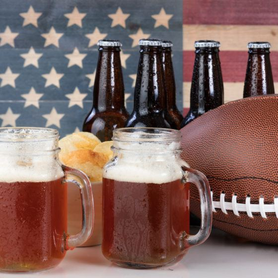 American football plus beer and chips with USA flag