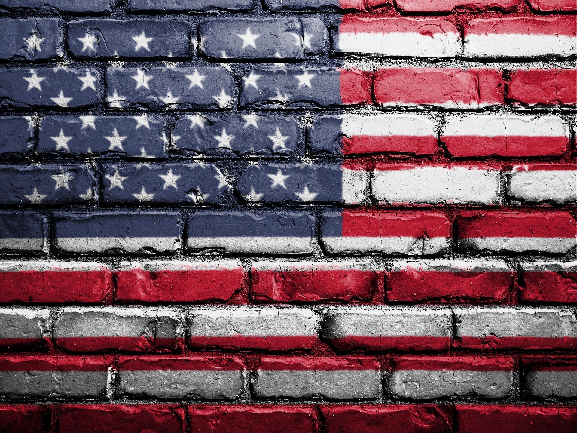 flag, brick