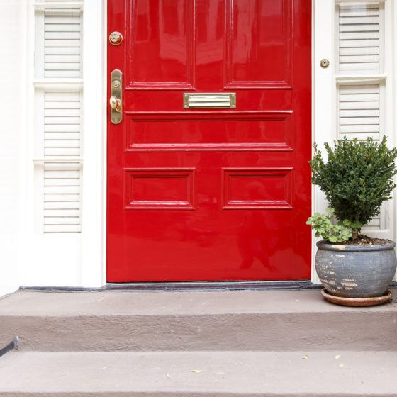 front door, residence front entrance. sleek design. red door and potted plant on the stairs