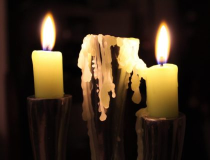 Candle dripping wax