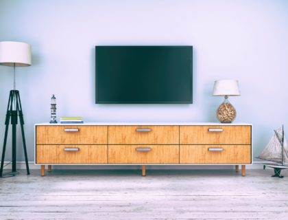 flatscreen tv with sideboard