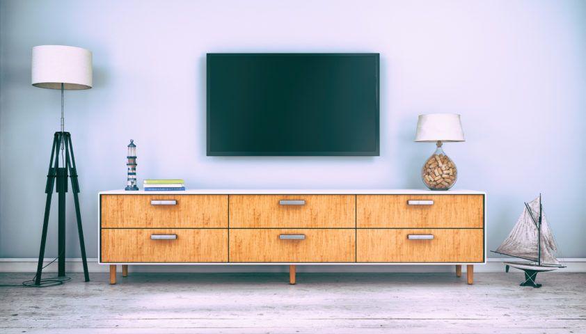 flatscreen tv with sideboard