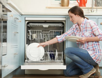 Woman Loading Dishwashwasher In Kitchen