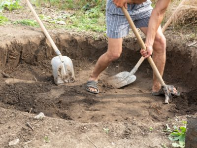 Homeowner digs a fire pit