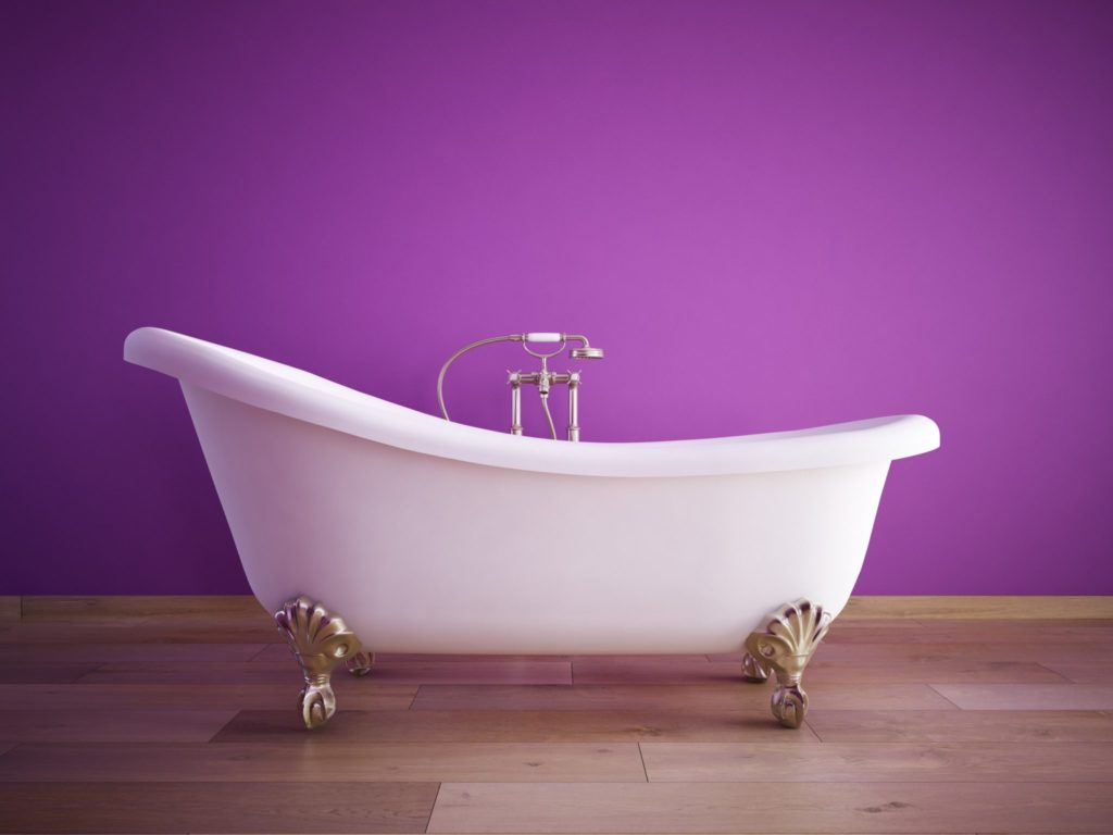 Painted accent wall in a bath