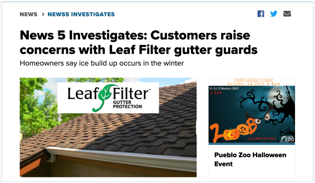Leaf Filter Gutter Guard Investigated by KOAA