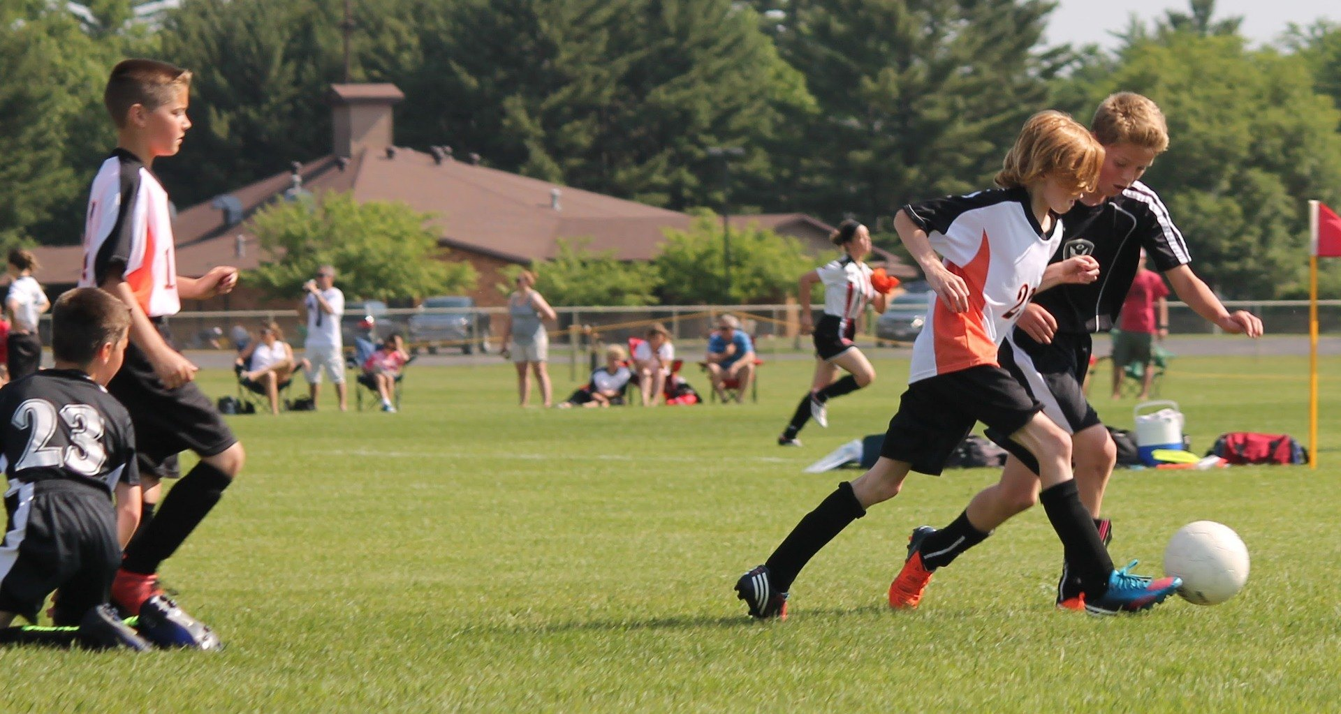 kids, playing, soccer