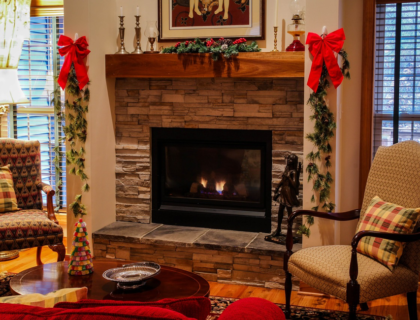 Fireplace During Holidays