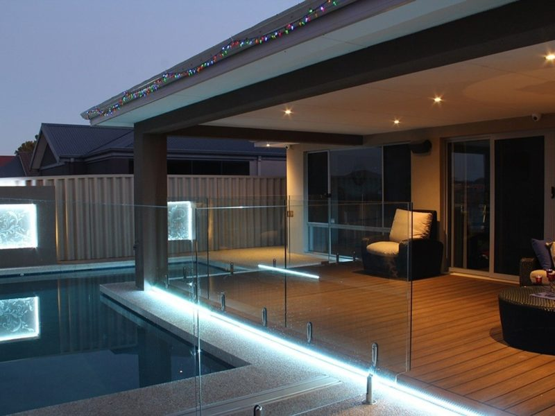 deck with pool underneath