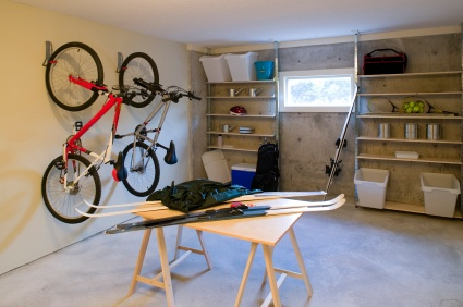Neatly organized garage