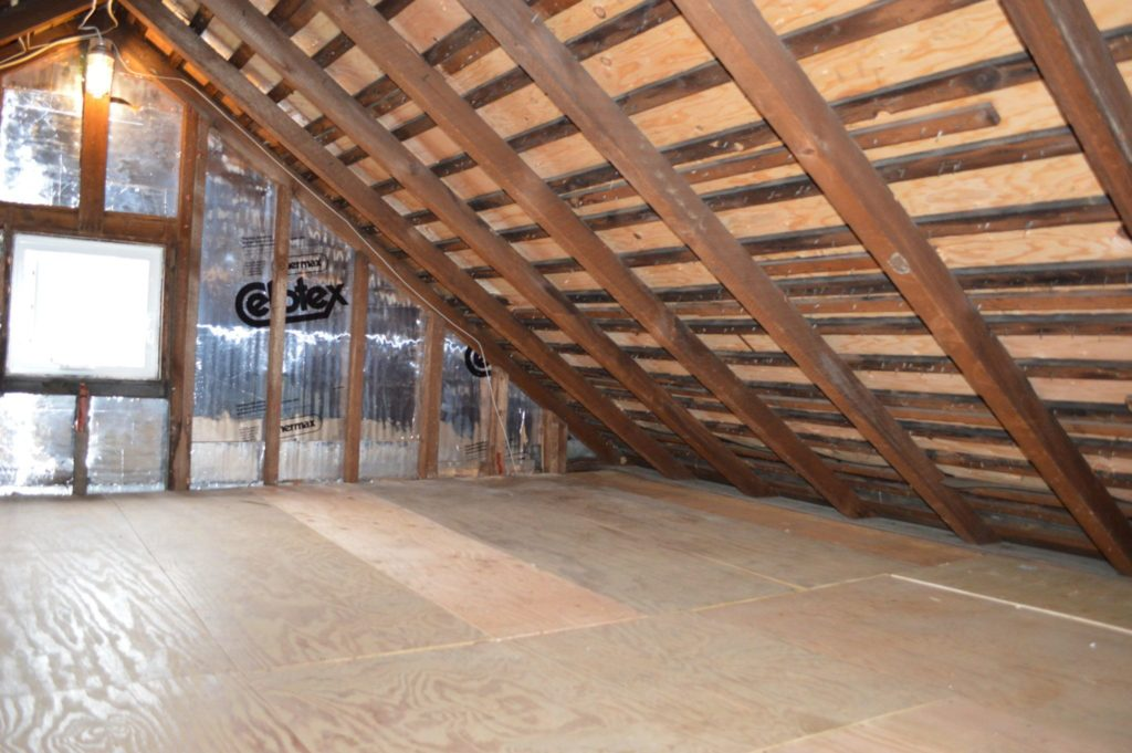 Attic with plywood floor