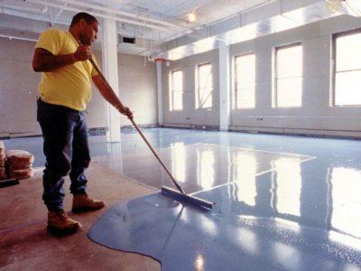 Garage floor being painted