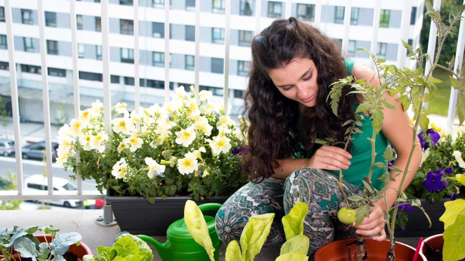Woman growing produce and flowers