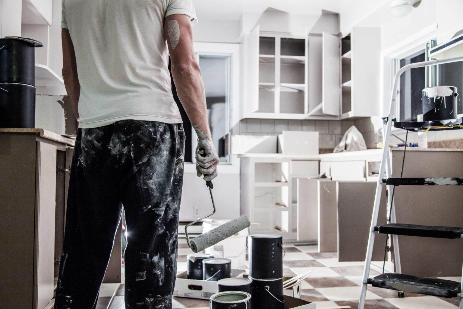 Man remodeling a kitchen