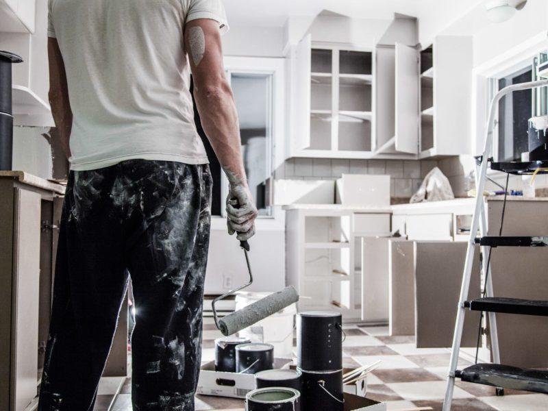 Man remodeling a kitchen