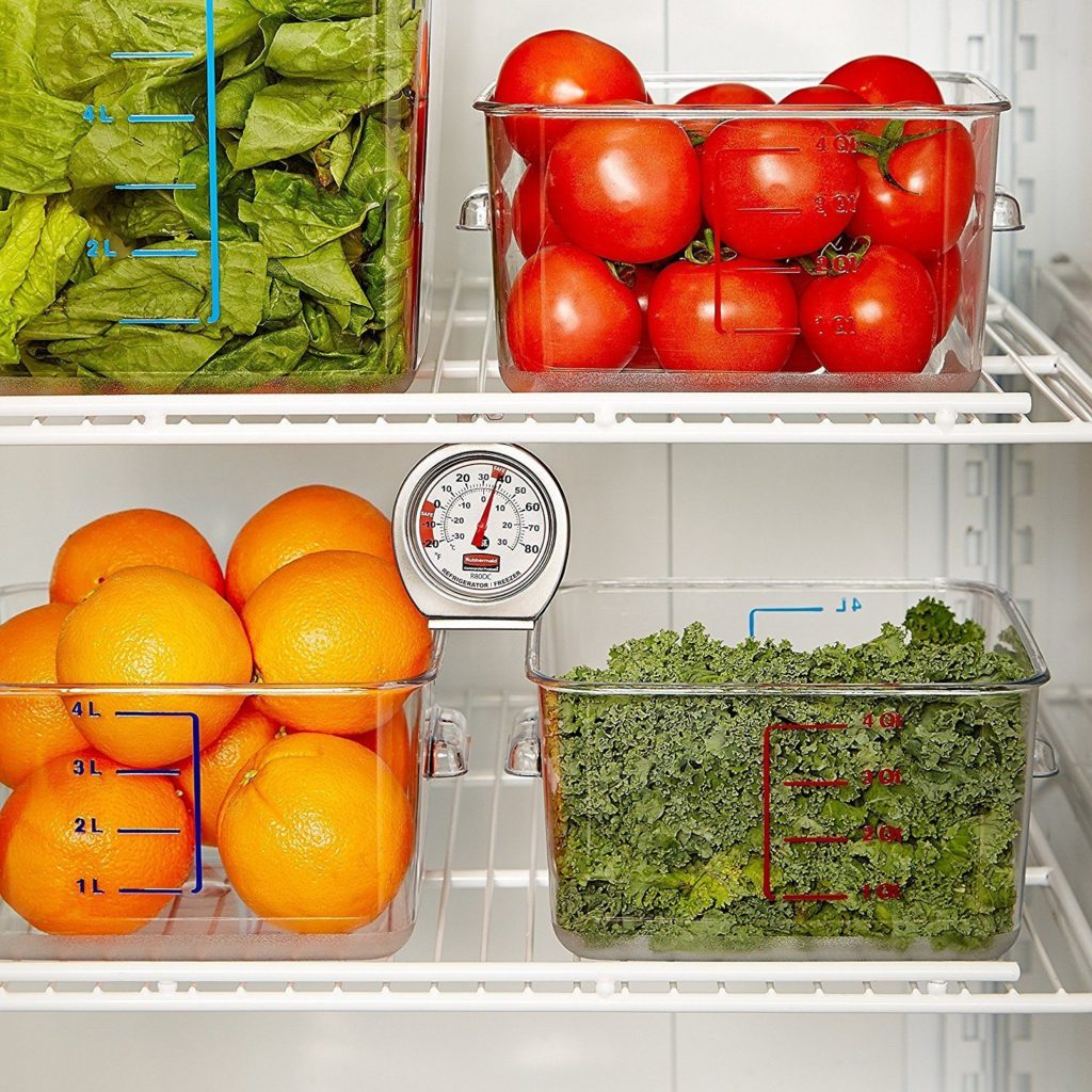 Vegetables in an eco-friendly kitchen refrigerator